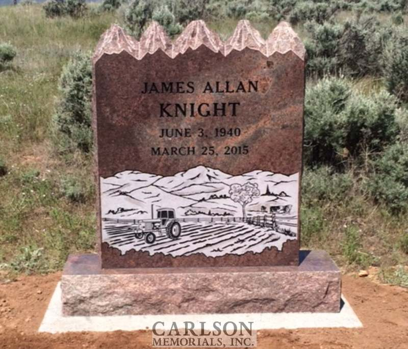 TS036: Autumn Brown Custom Designed Tablet Headstones for the Knight family