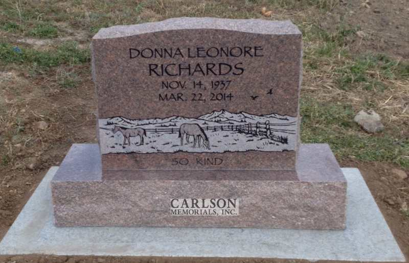 TS047: Colonial Rose Custom Designed Tablet Headstones for the Richards family
