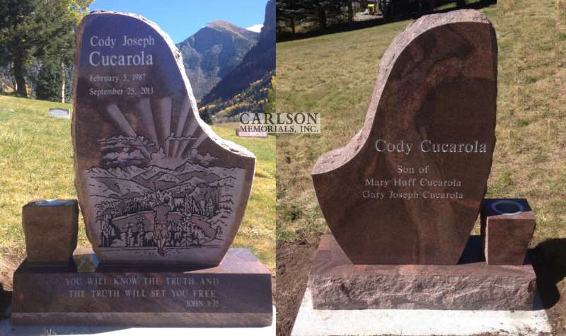 TS052: Autumn Brown Custom Designed Tablet Headstone for the Cucarola family