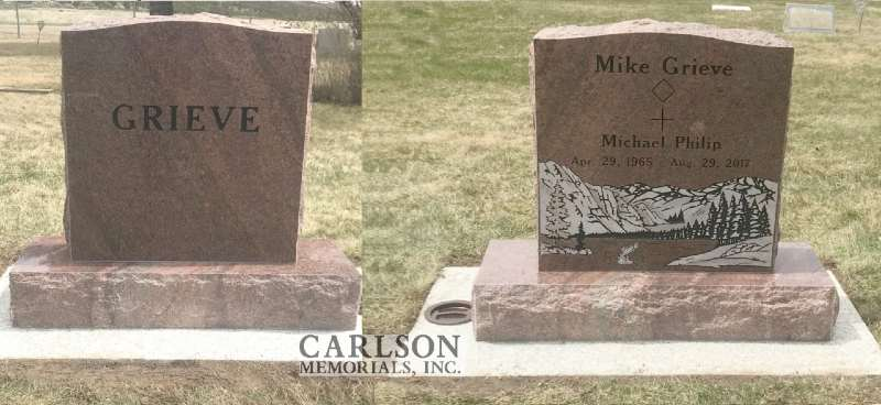 TS089: Autumn Brown Custom Designed Tablet Headstones for the Grieve Family