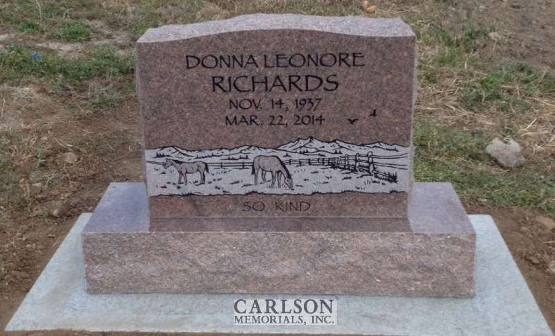 TS115: Colonial Rose Custom Designed Tablet Headstones for the Richards Family