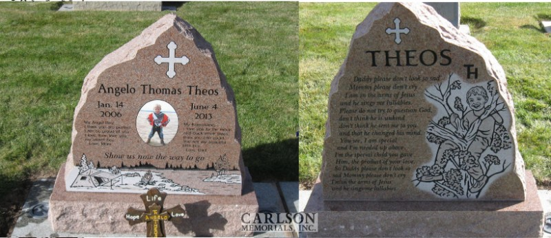TS130: Morning Rose Custom Designed Tablet Headstones for the Theos Family